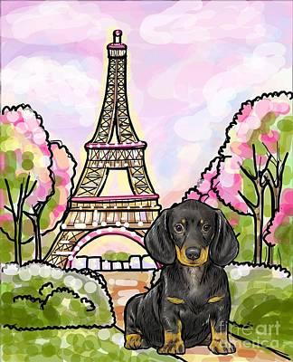 Cute Dachshund Digital Art - Dachshund Eiffel Tower by Nicole Chen
