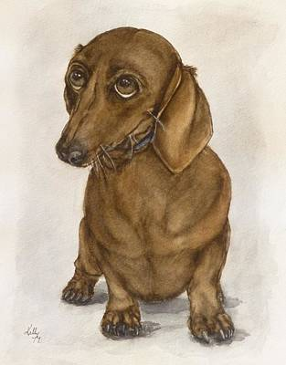 Painting - Dachshund Eyes by Kelly Mills