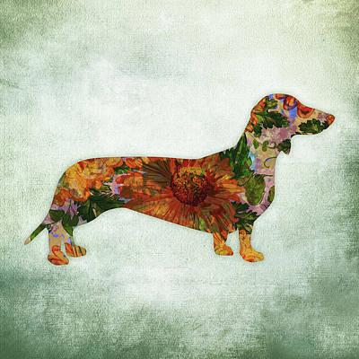 Watercolor Pet Portraits Wall Art - Digital Art - Dachshund Floral On Green by Flo Karp