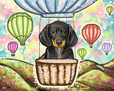 Cute Dachshund Digital Art - Dachshund Hot Air Balloon by Nicole Chen