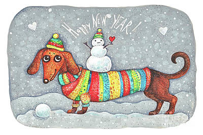 New Mind Drawing - Dachshund In A Suit With A Snowman - New Year by Anastasiia Kononenko