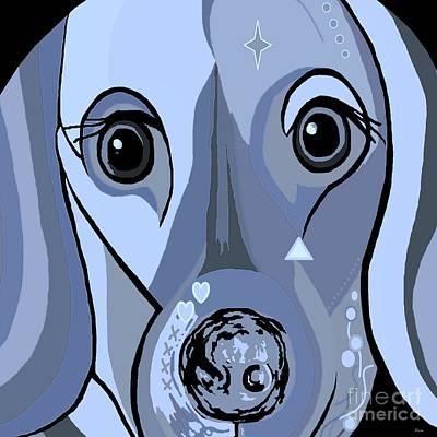 Weiner Dog Painting - Dachshund In Blue by Eloise Schneider
