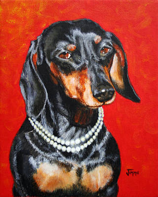 Dachshund In Pearls Art Print by Jimmie Bartlett