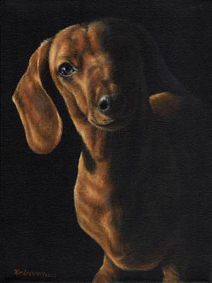 Painting - Dachshund In The Spotlight by Kim Lockman