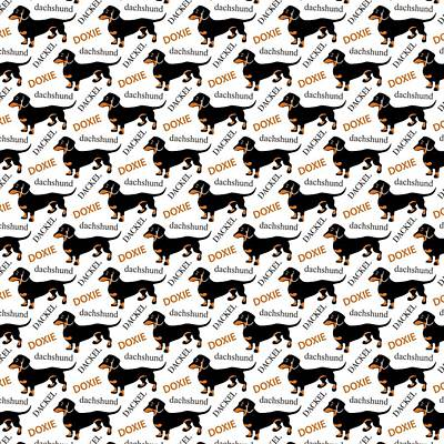Cute Dogs Digital Art - Dachshund Lover's Pattern by Antique Images