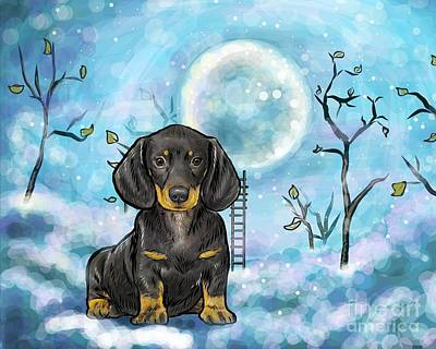 Cute Dachshund Digital Art - Dachshund Nightsky by Nicole Chen