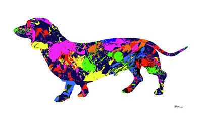 Dachshund Art Digital Art - Dachshund Paint Splatter by Gregory Murray