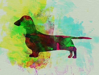 Cute Dog Painting - Dachshund Watercolor by Naxart Studio