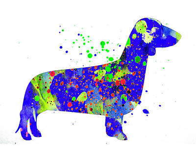 Dachshund Watercolor Silhouette Painting Art Print by Donald Erickson