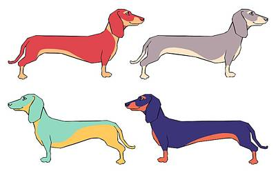 Colorful Dog Wall Art - Digital Art - Dachshunds by Kelly Jade King