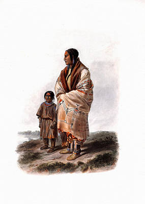 Painting - Dacota Woman And Assiniboin Girl Wall Art Prints by Karl Bodmer