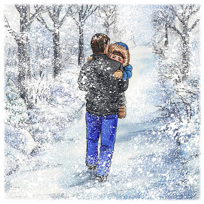 Painting - Dad And Child In The Winter Snow by Irina Sztukowski