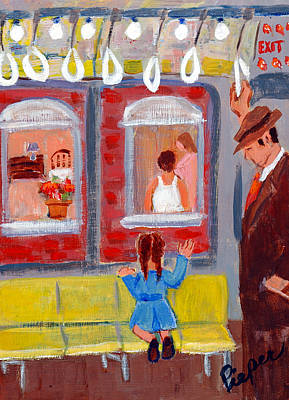 Painting - Dad And Me On The El by Elzbieta Zemaitis