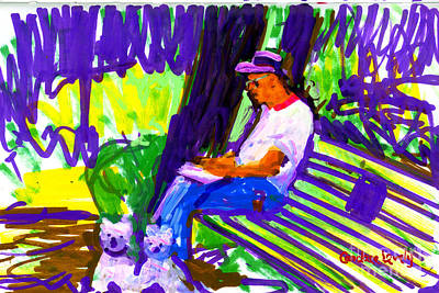 Dad Sketching With Mac And Ham Art Print by Candace Lovely