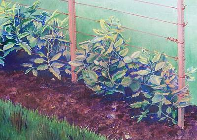 Green Beans Painting - Daddy's Bean Row by Tina Farney