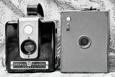 Photograph - Daddy's Cameras 2 Bw by Mary Bedy