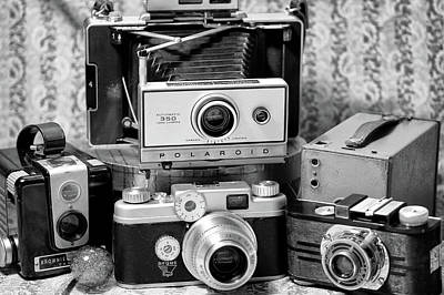 Photograph - Daddy's Cameras 3 Bw by Mary Bedy