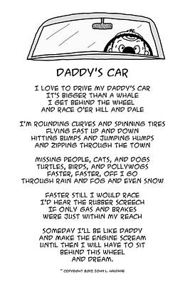Drawing - Daddys Car by John Haldane