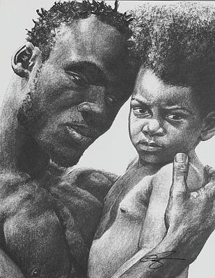 African Art Drawing - Daddy's Home by Curtis James