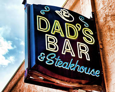 Photograph - Dad's Bar And Steakhouse Vintage Neon Sign by Gigi Ebert