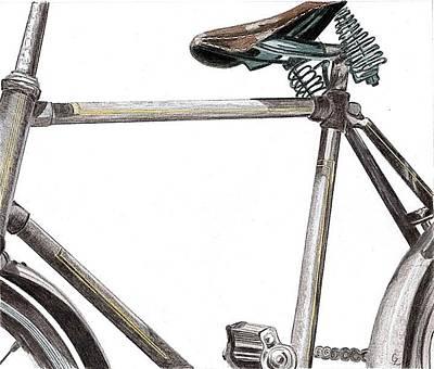 Bike Drawing - Dad's Bike by Glenda Zuckerman