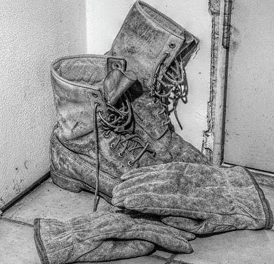 Dads Boots Print by Randy Steele