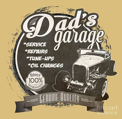 Dad's Garage-1932 Ford Art Print