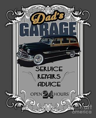 Funny Signs Mixed Media - Dad's Garage With Pontiac by Paul Kuras