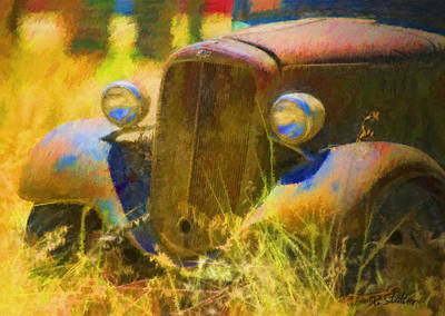 Abandoned Digital Art - Dad's Old Chevy by Patricia Stalter