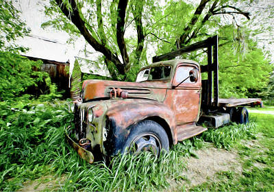 Photograph - Dads Old Flatbed Truck. by James Steele