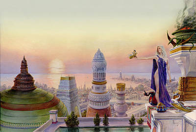 City Sunset Painting - Daenerys In The City Of Qarth by Richard Hescox