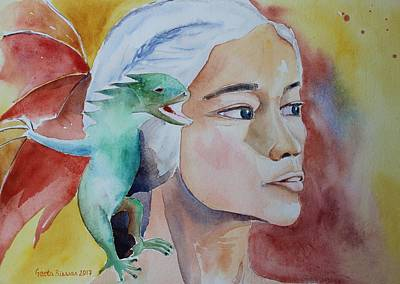 Painting - Daenerys Targaryen Born Dragon  by Geeta Biswas