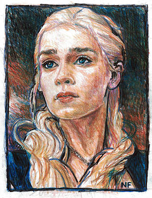 Colored Pencil Drawing - Daenerys Targaryen - Mother Of Dragons by Neil Feigeles