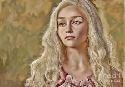 Hbo Digital Art - Daenerys Targaryen by Ted Guhl