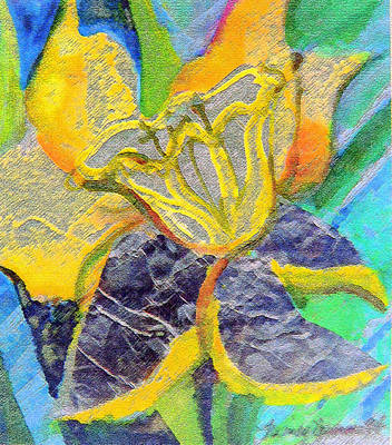 Daffodils Mixed Media - Daffodil Abstract by Mindy Newman