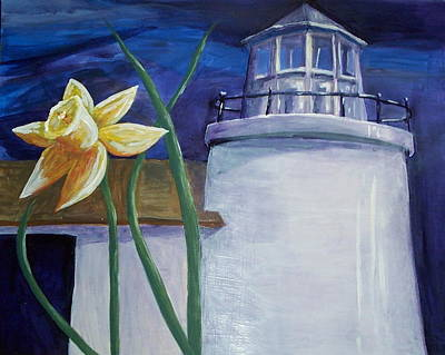 Daffodils Painting - Daffodil And Lighthouse by Rachel Biddlecome