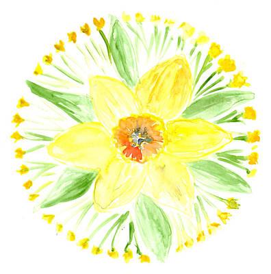Painting - Daffodil Botanical Mandala by Louise Gale
