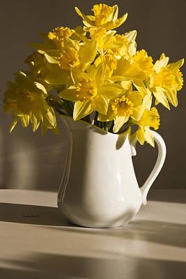 Daffodil Filled Jug Art Print by Sandra Foster
