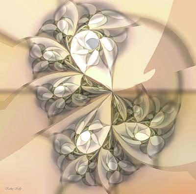 Fractal Digital Art - Daffodil In Beige by Kathy Kelly