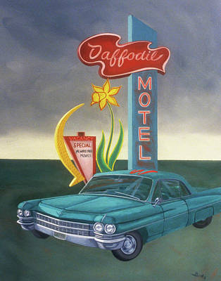 Painting - Daffodil Motel by Sally Banfill