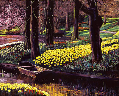 Daffodils Painting - Daffodil Park by David Lloyd Glover