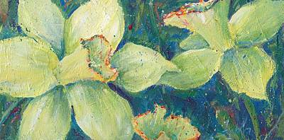 Daffodils Painting - Daffodil Pistachio by Sukey Watson