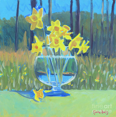 Snifter Painting - Daffodil Snifter  by Candace Lovely