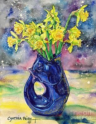 Still Life With Daffodils Painting - Daffodil Spray by Cynthia Pride