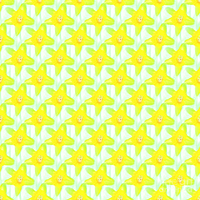 Photograph - Daffodil Tiles On White by Barbara Moignard