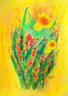 Daffodils Painting - Daffodiles  by Renate Dartois
