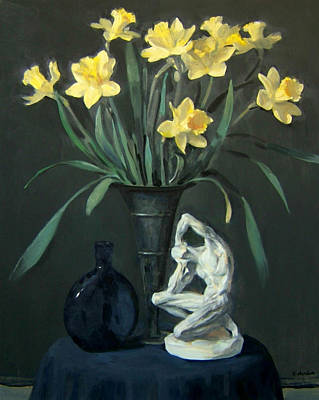 Painting - Daffodiles With Plaster Cast And Blue Bottle by Robert Holden