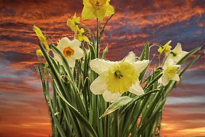 Digital Art - Daffodils Against The Sky by Rusty R Smith
