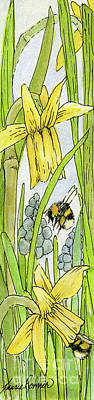 Painting - Daffodils And Bees by Laurie Rohner