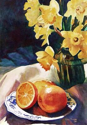 Daffodils Painting - Daffodils And Oranges by Eva Ramanuskas